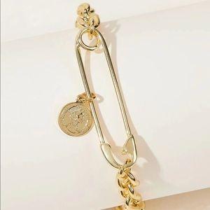 🆕 Gold Coin + Safety Pin Bracelet